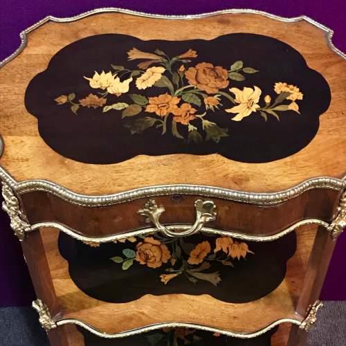 Decorative Inlaid Walnut Three Tier Occasional Table image-2