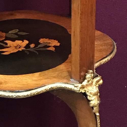 Decorative Inlaid Walnut Three Tier Occasional Table image-3