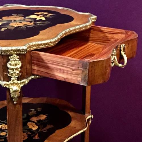 Decorative Inlaid Walnut Three Tier Occasional Table image-4