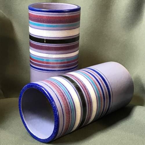 Pair of Italian Bitossi Cylinder Vases image-1