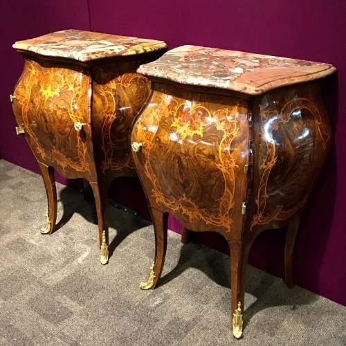 Pair of Walnut Bombe Shaped Side Cabinets image-1