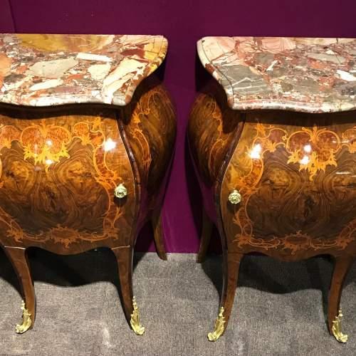 Pair of Walnut Bombe Shaped Side Cabinets image-2