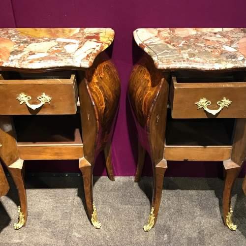 Pair of Walnut Bombe Shaped Side Cabinets image-3