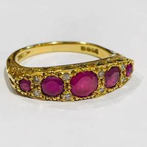 18ct Gold Five Stone Ruby and Diamond Ring