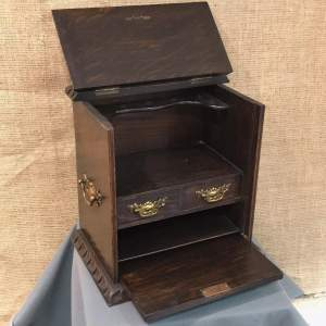 Carved Oak Fall Front Smokers Cabinet