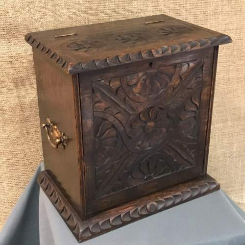 Carved Oak Fall Front Smokers Cabinet image-4