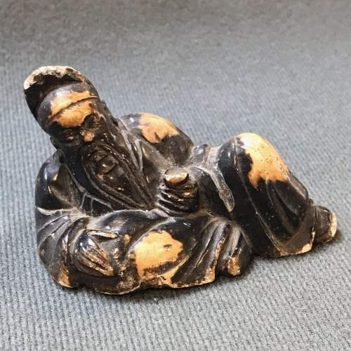 Small Chinese Carved Soapstone Figure of a Bearded Sage image-1