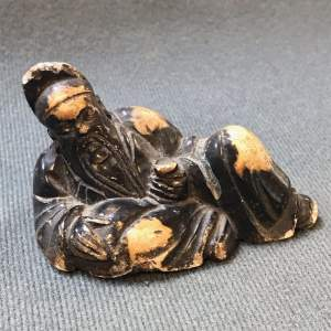 Small Chinese Carved Soapstone Figure of a Bearded Sage