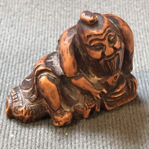 Japanese Carved Hardwood Netsuke Figure image-1