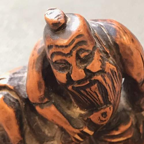 Japanese Carved Hardwood Netsuke Figure image-2