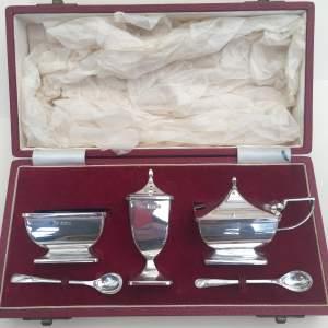 Solid Silver Cruet Set 1962 Birmingham