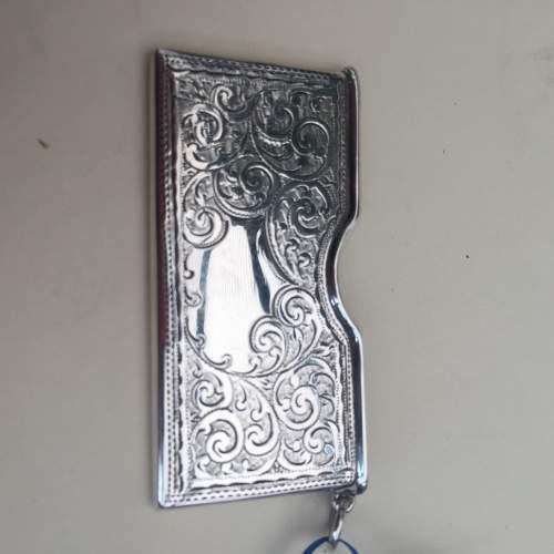 Solid Silver Engraved Card Case 1911 Birmingham image-1