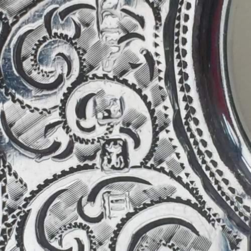 Solid Silver Engraved Card Case 1911 Birmingham image-2