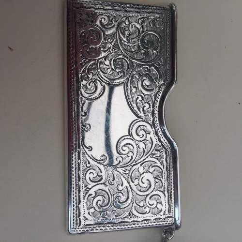 Solid Silver Engraved Card Case 1911 Birmingham image-3