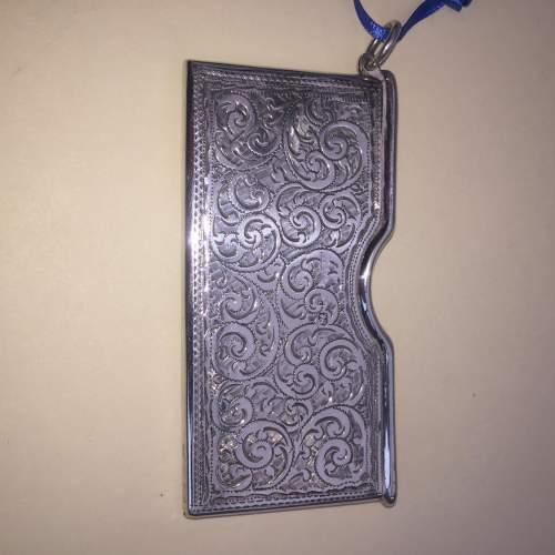 Solid Silver Engraved Card Case 1911 Birmingham image-4