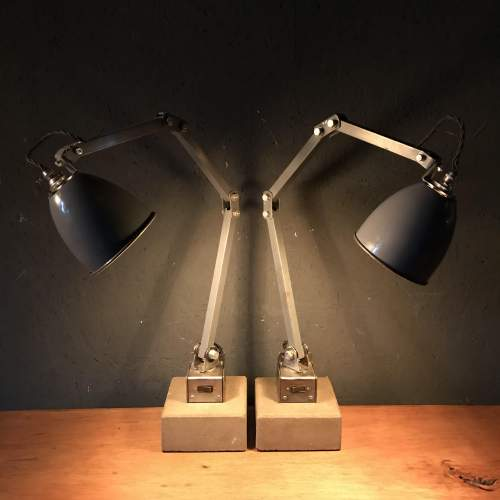 Pair of Memlite Machinists Lamp with Original Switch and Remounted image-1