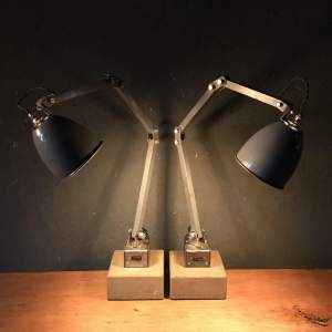 Pair of Memlite Machinists Lamp with Original Switch and Remounted