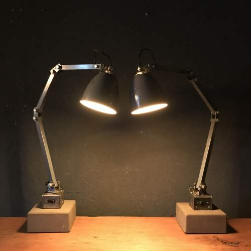 Pair of Memlite Machinists Lamp with Original Switch and Remounted image-3