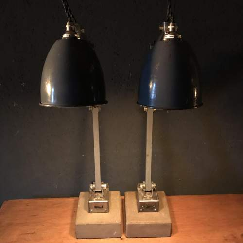Pair of Memlite Machinists Lamp with Original Switch and Remounted image-4