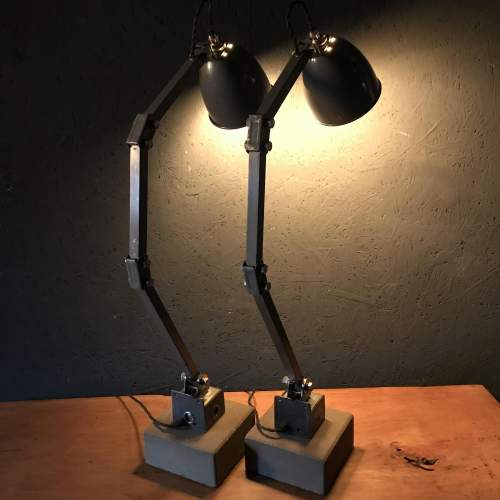 Pair of Memlite Machinists Lamp with Original Switch and Remounted image-5