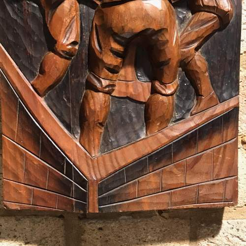Unusual High Relief Carved Wooden Wall Plaque image-4