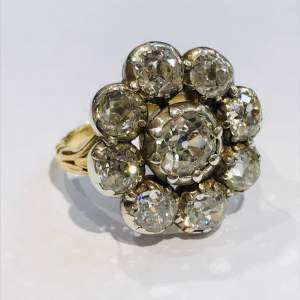Stunning Antique 5 Carat Diamond Cluster Ring