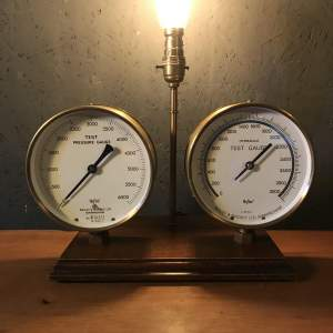 Repurposed Steampunk Lamp With 2 Vintage Brass Pressure Gauges