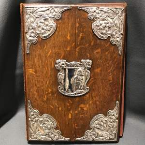 Art Nouveau Magazine Holder with Silver Mounts