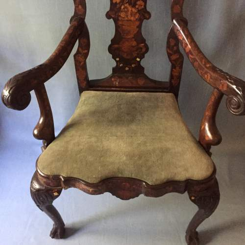 A Dutch Carved Walnut And Marquetry Armchair Circa 19th Century image-3