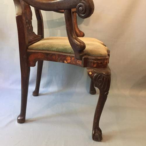 A Dutch Carved Walnut And Marquetry Armchair Circa 19th Century image-4