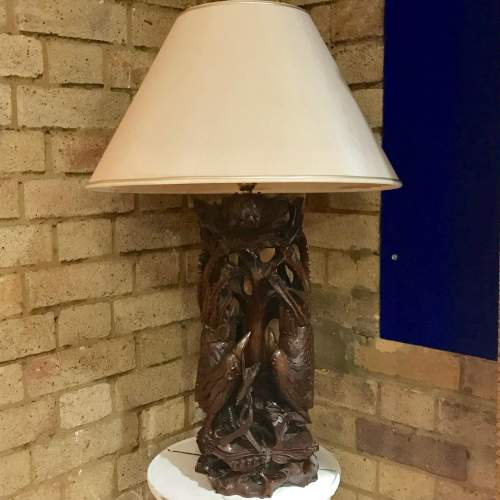 Large Hand Carved Chinese Lamp image-1