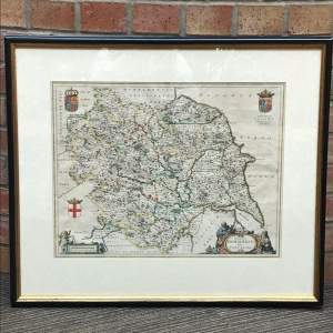 Mid 17th Century Early Map of Yorkshire