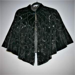Black Velvet Bead and Sequin Victorian Cape