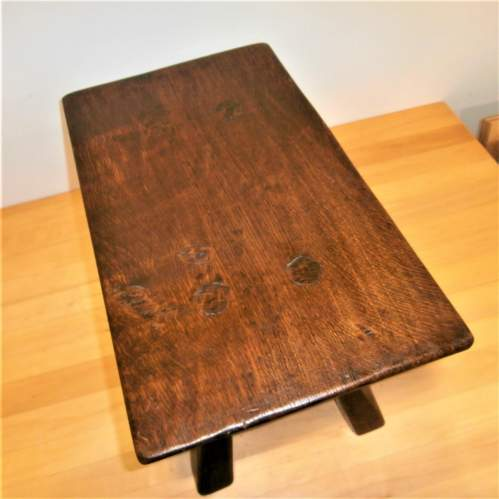 A Quality Handcrafted Oak Rectangular Shaped Stool or Small Table image-4