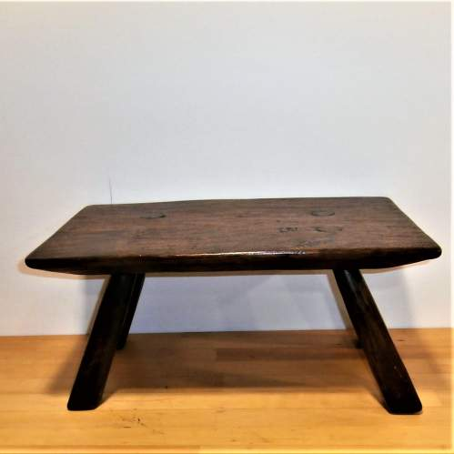 A Quality Handcrafted Oak Rectangular Shaped Stool or Small Table image-5