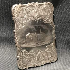 Victorian Silver Castle Top Engraved Card Case by Nathaniel Mills