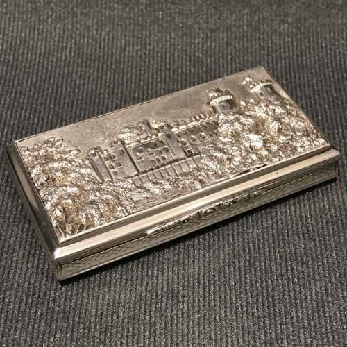 Victorian Silver Castle Top Warwick Castle Snuff Box image-1