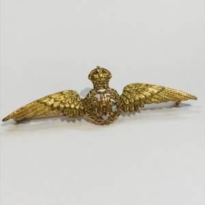 9ct Gold Vintage RAF Wings Brooch