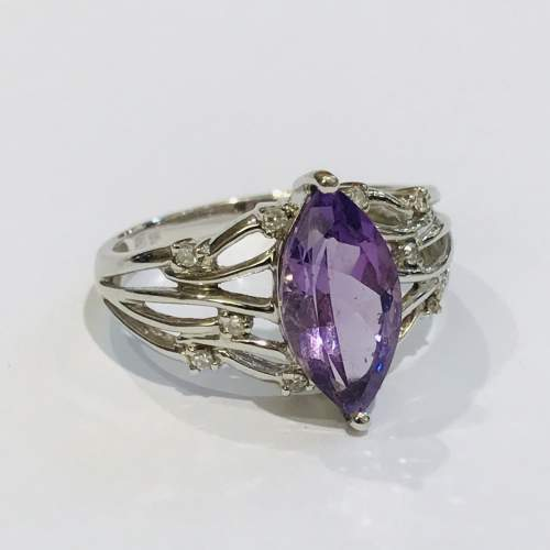 9ct White Gold Diamond and Amethyst Ring image-1