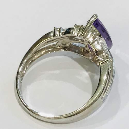 9ct White Gold Diamond and Amethyst Ring image-4