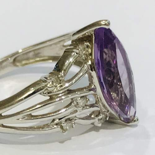 9ct White Gold Diamond and Amethyst Ring image-3