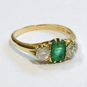 18ct Gold Emerald and Diamond Three Stone Ring