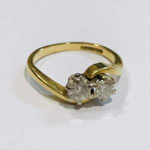 18ct Gold Two Stone Diamond Twist Ring