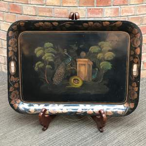 Early 19th Century Large Toleware Peacock Tray