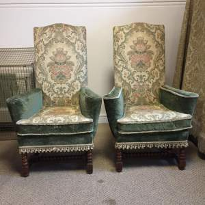 Pair of 19th Century High Back Upholstered Armchairs
