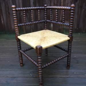 Rush Seated Bobbin Turned Corner Chair