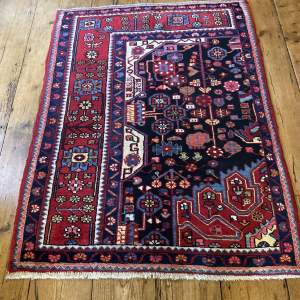 Old Hand Knotted Persian Nehavend Very Unusual Sample Rug