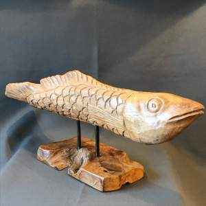 Hand Carved Stylised Wooden Fish