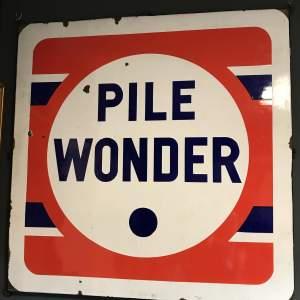 French Enamel Pile Wonder Battery Advertising Sign
