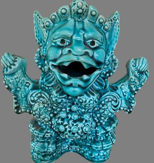 A Turquoise Majolica Vase As a Mythical Beast. Circa 1900 image-1